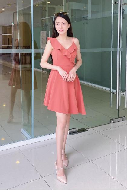 Chixxie Jane Dress in Coral