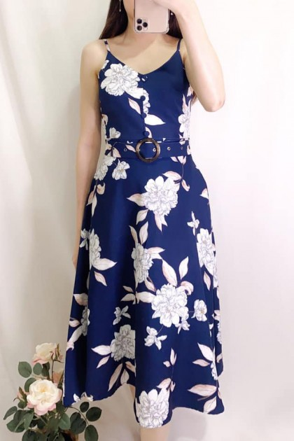 Chixxie Chrissy Dress in Navy