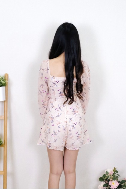 Chixxie Andrea Floral Playsuit in Pink