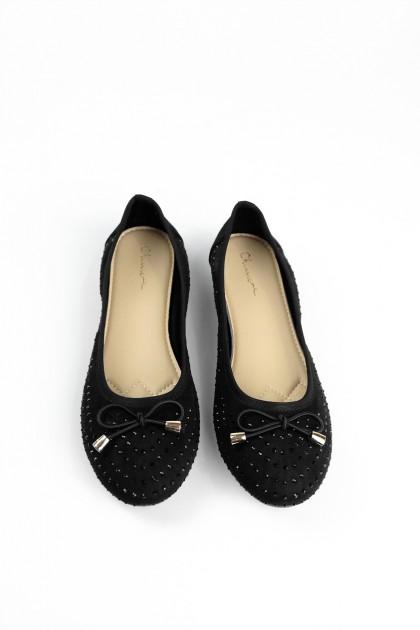 Chixxie Embellished Ribbon Ballerina Flats in Black
