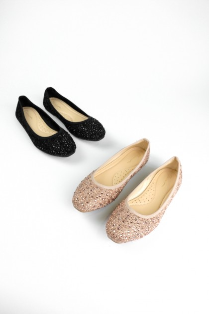 Chixxie Embellished Laced Ballerina Flats in Champagne