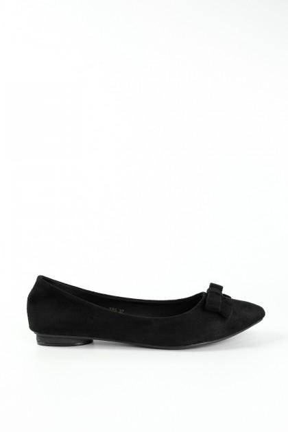 Chixxie Cutout Ribbon Pointed Toe Flats in Black