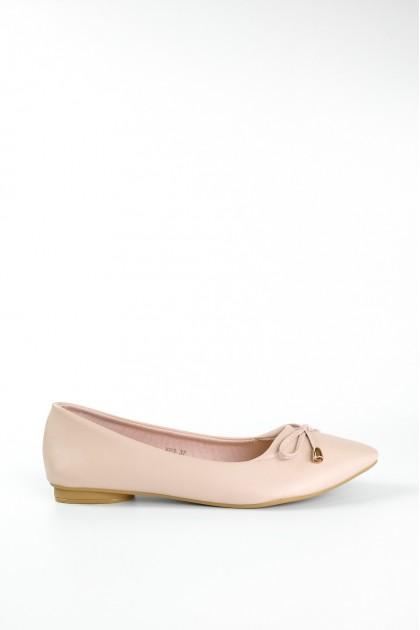 Chixxie V-Cut Ribbon Tie Pointed Toe Flats in Pink