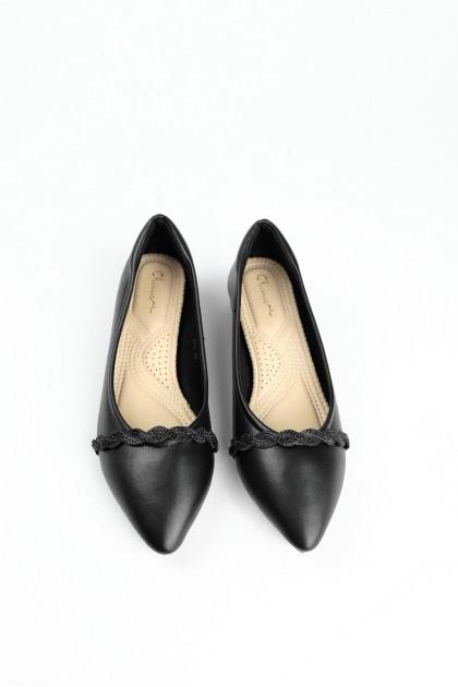 Chixxie Embellished Plaited Pointed Toe Flats in Black