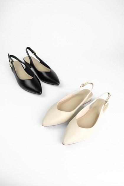 Chixxie Slingback V-Cut Pointed Toe Flats in Beige