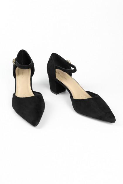 Chixxie Suede Ankle Strap Heels in Black