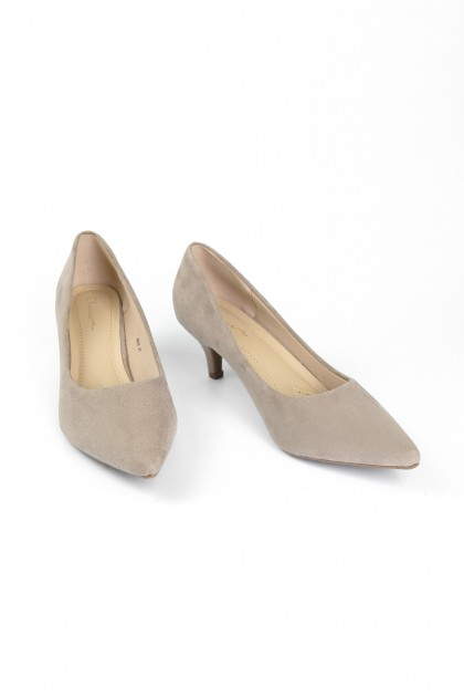 Chixxie Suede Pointed Toe Pumps in Taupe