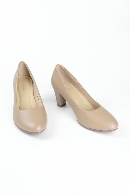 Chixxie Round Toe Heels in Beige
