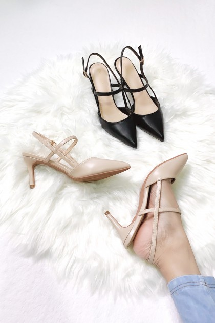 Chixxie Slingback Pointed Toe Pumps in Black