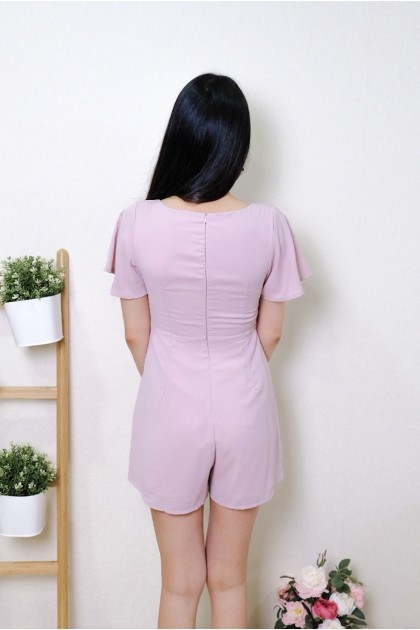 Chixxie Cassidy Ruched Sweetheart Playsuit in Pink