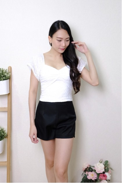 Chixxie Anna Lace Knot Top in White