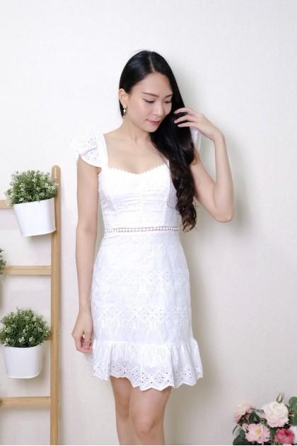 Chixxie Jewel Lace Ruffle Dress