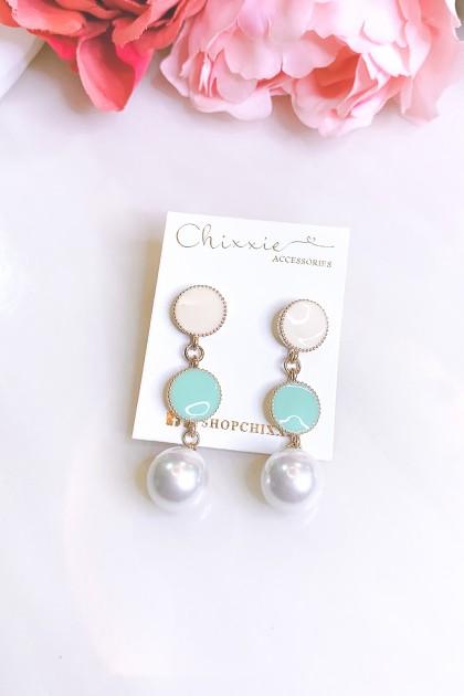 Colour Circle Pearl Drop Earrings