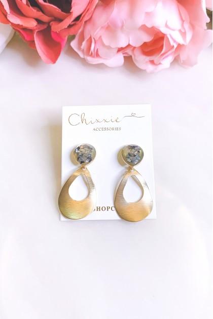 Gold Marble Teardrop Earrings