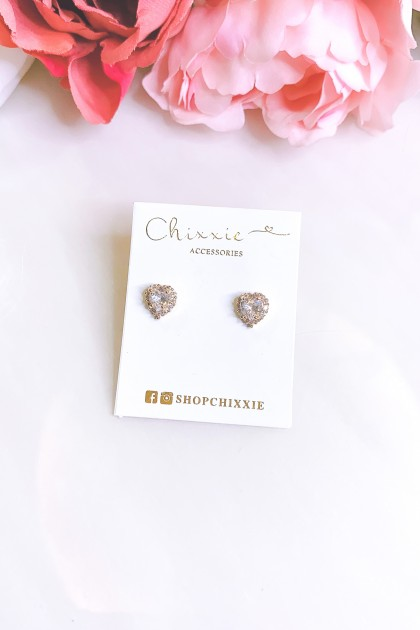 Gold Diamante Small Heart Stud Earrings