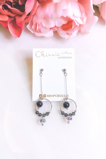 Silver Circle Black Beads Drop Earrings