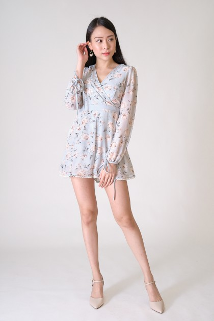 Chixxie Bella Floral Playsuit in Blue