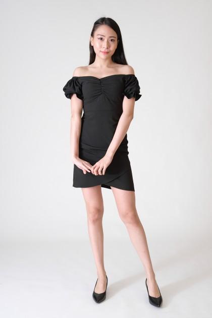 Chixxie Samantha Sweetheart Dress in Black