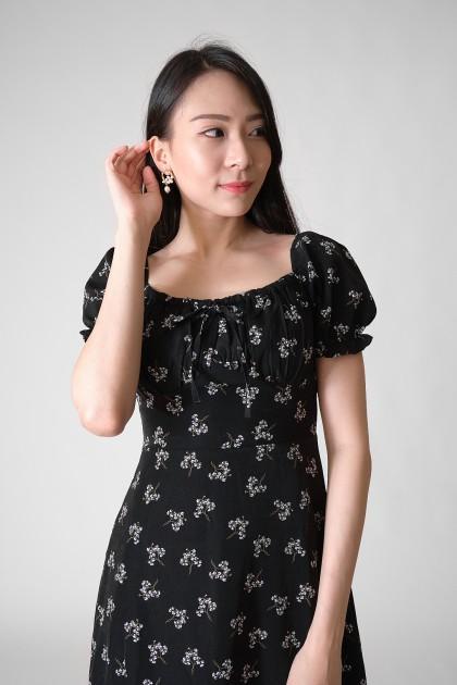Chixxie Kendra Floral Dress in Black